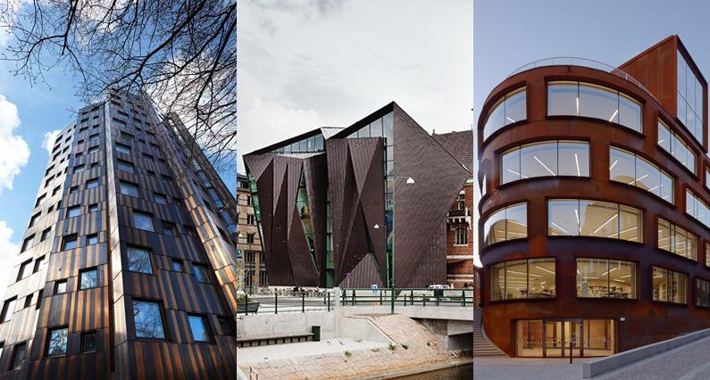 Exempel på tre vackra metallfasader färdigställda under 2015. Foto från vänster: Lars Lydig, Malmö stadsbyggnadskontor/Bojan Lukac, Åke E:son Lindman